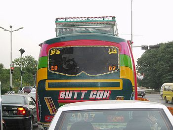 Message on the bus would have a different meaning in Metro Manila in this picture taken in Islamabad.