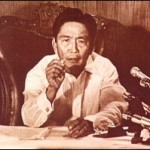 A famous shot of the late Philippine President Marcos declaring martial law