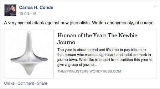 Screenshot of Carlos H. Conde's Facebook page