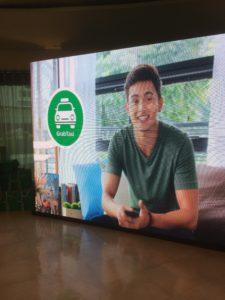 That's James Reid, one of Grab Philippines' endorsers, as shown on a screen set up during the ride-hailing service's June 2017 event in Pasay City.